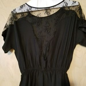 Black silk and lace blouse